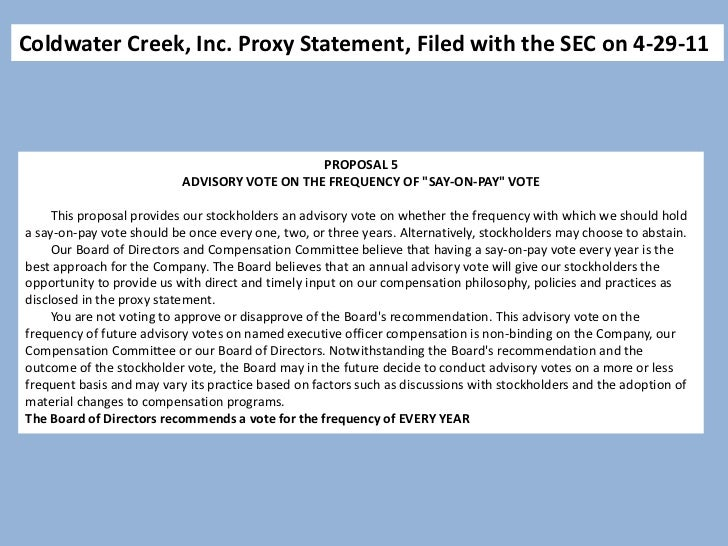 Coldwater Creek, Inc. Proxy Statement, Filed with the SEC on 4-29-11                                                      ...