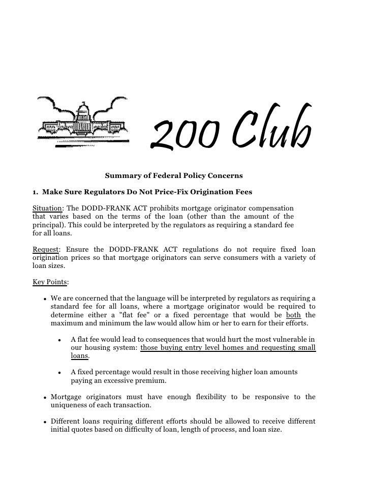 Dodd frank summary of concerns