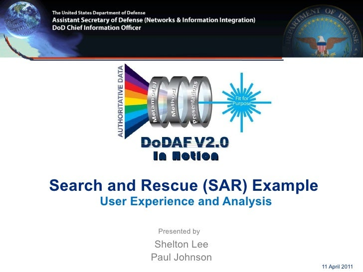 DoDAF 2.0 In Action   Search and Rescue (SAR) Example  User Experience and Analysis Presented by   Shelton Lee Paul Johnso...