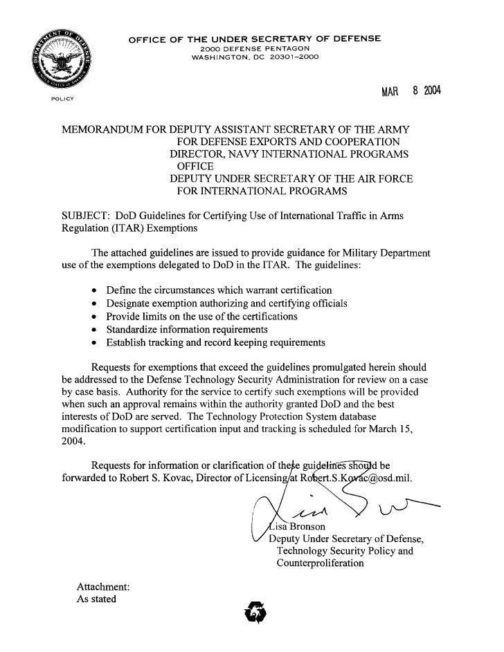 Dod Bronson Exemption Guidelines Memo