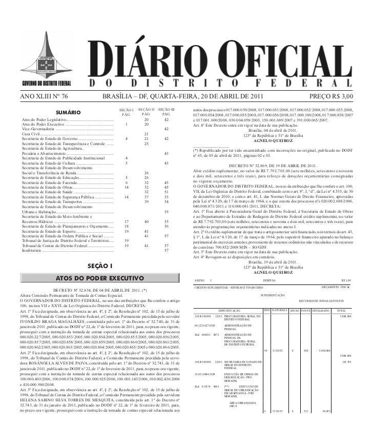 ANO XLIII Nº 76                                                        BRASÍLIA – DF, QUARTA-FEIRA, 20 DE ABRIL DE 2011   ...