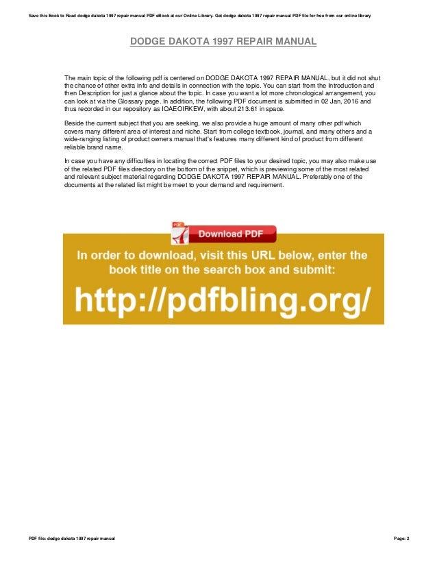 dodge dakota owners manual pdf