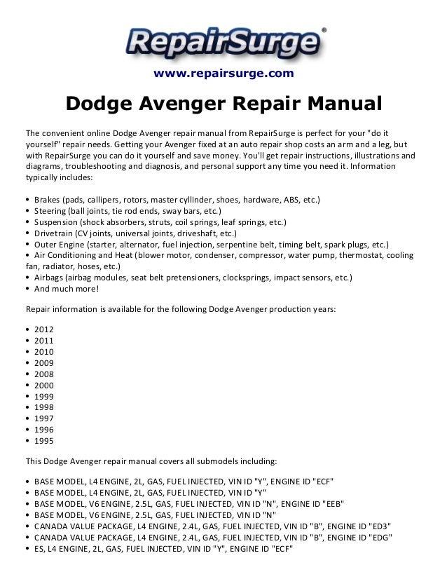 Dodge Avenger Repair Manual 19952012rhslideshare: Engine Schematic For 2008 Dodge Avenger At Gmaili.net