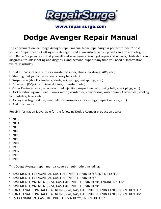 dodge avenger repair manual 1995 2012 rh slideshare net 2015 dodge avenger owners manual 2012 dodge avenger service manual