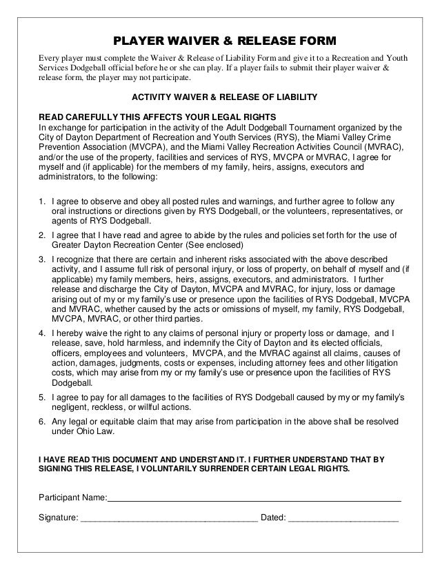 Liability Document General Release Of Liability Form Sample