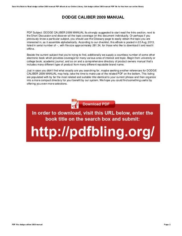 2009 dodge caliber manual pdf