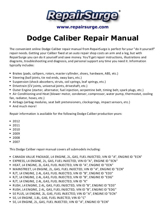 dodge caliber repair manual 2007 2012 rh slideshare net 2007 dodge caliber service manual free download 2007 dodge caliber repair manual download
