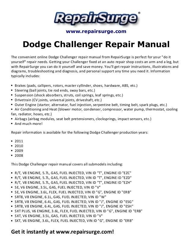 dodge challenger repair manual 2008 2011 rh slideshare net dodge challenger repair manual 2009 1974 dodge challenger repair manual