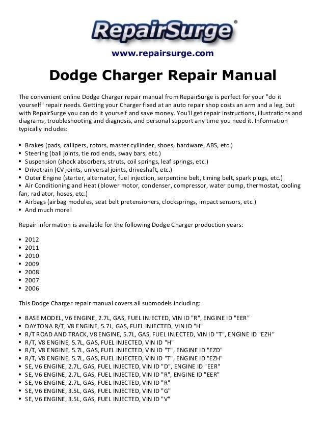 dodge charger repair manual 2006 2012 rh slideshare net 2015 dodge charger sxt owners manual 2015 dodge charger sxt owners manual
