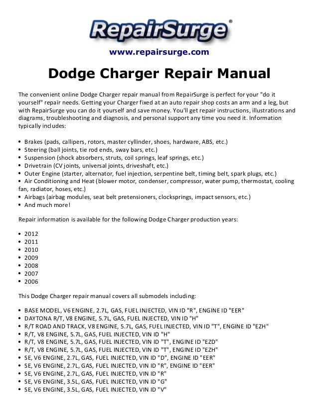 Dodge Charger Repair Manual 2006 2012