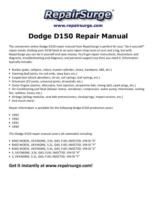 1990 dodge d350 wiring diagram 1990 Dodge Motor Wiring Diagram dodge d150 repair manual 1990 1993 repairsurge com dodge d150 repair manual the convenient online dodge Dodge Ram 1500 Wiring Diagram