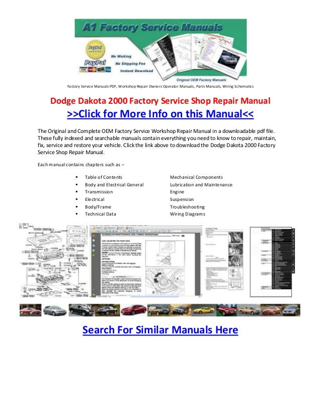 Dodge Dakota 2000 Factory Service Shop Repair Manual