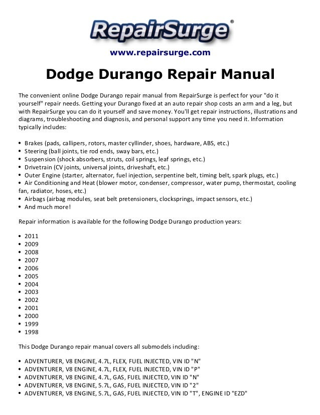 dodge durango repair manual 1998 2011. Black Bedroom Furniture Sets. Home Design Ideas