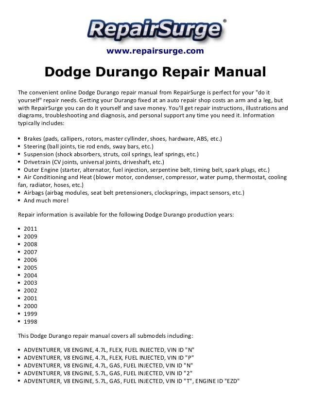 .repairsurge.com Dodge Durango Repair Manual The convenient online Dodge Durango repair manual ...  sc 1 st  SlideShare : 2000 dodge durango wiring diagram - yogabreezes.com