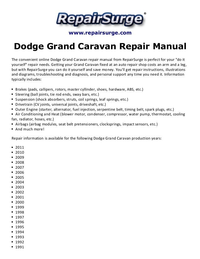 dodge grand caravan repair manual 1990 2011 rh slideshare net 1999 dodge grand caravan service manual Old Dodge Caravan