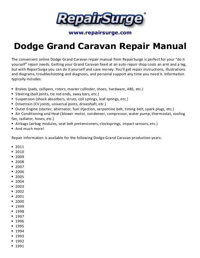 Dodge Grand Caravan Repair Manual 19902011 – Dodge Caravan 3.8l Engine Diagram