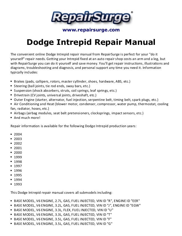dodge intrepid repair manual 1993 2004 rh slideshare net 2002 dodge intrepid service manual 2002 dodge intrepid service manual free download