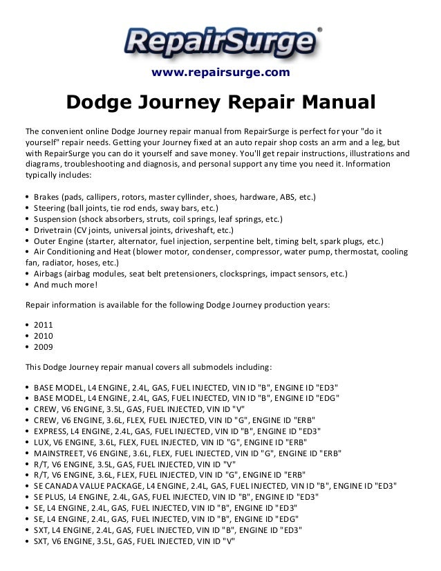Dodge Journey Repair Manual 20092011 – Dodge Journey Engine Cooling Diagram