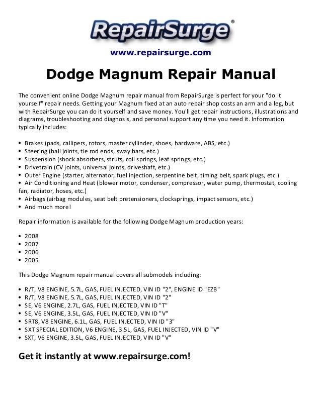 dodge magnum repair manual 2005 2008 rh slideshare net 2008 Dodge Magnum Interior 2008 Dodge Magnum MPG