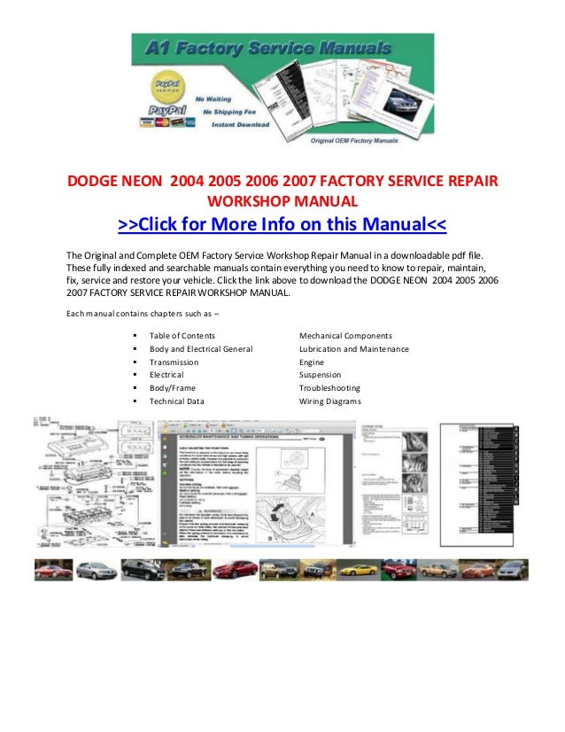 dodge neon 2004 2005 2006 2007 factory service repair workshop manual rh slideshare net 2004 Dodge Neon Transmission Diagram Fuse Diagram for 2002 Dodge Neon