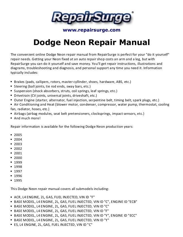 dodge neon repair manual 1995 2005 rh slideshare net 1996 dodge neon owners manual 1996 Dodge Neon Specs