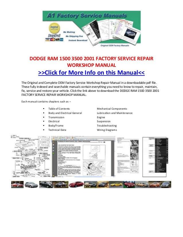 Dodge Ram 1500 3500 2001 Factory Service Repair Workshop Manual
