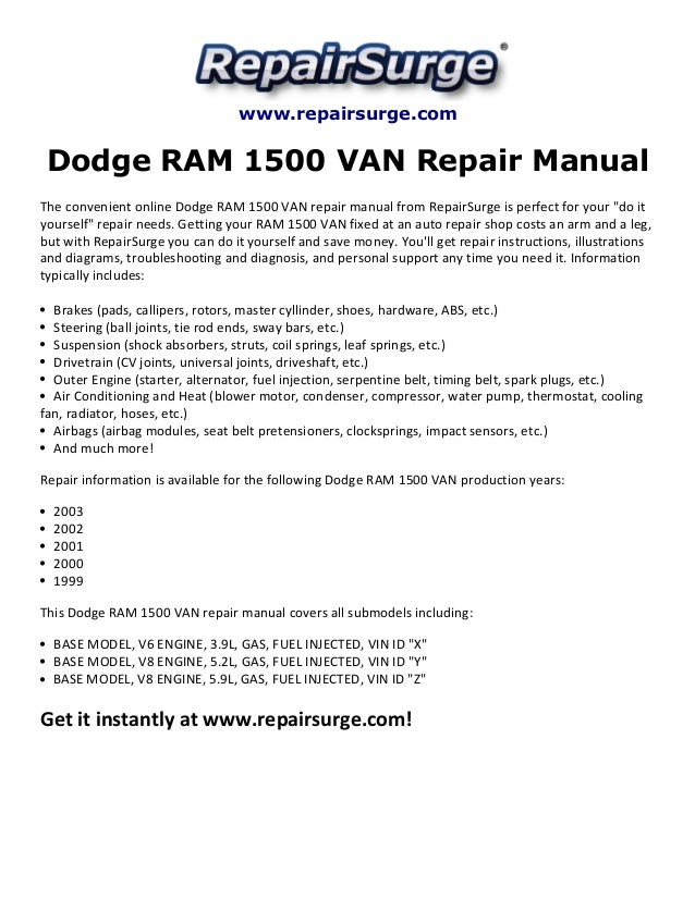 Dodge ram 1500 van repair manual 1999 2003