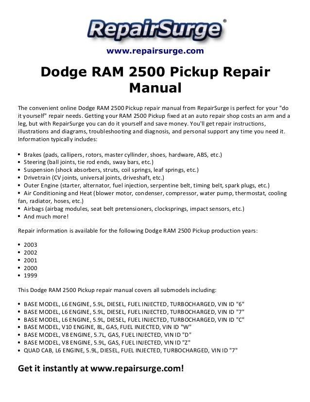 dodge ram 2500 pickup repair manual 1999 2003. Black Bedroom Furniture Sets. Home Design Ideas