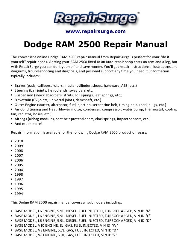 dodge ram 2500 repair manual 1994 2010 rh slideshare net 2003 dodge ram 2500 diesel repair manual pdf 2003 dodge ram 2500 diesel repair manual pdf