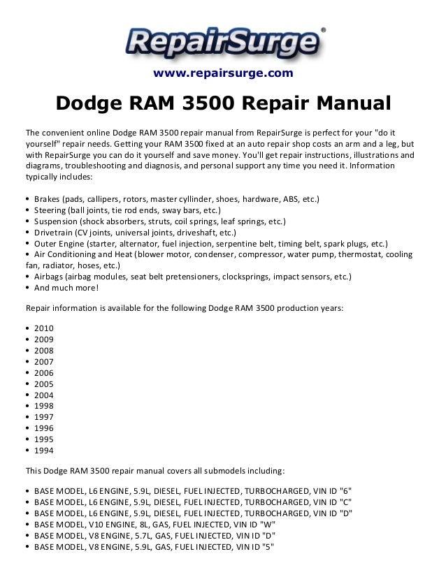 dodge ram 3500 repair manual 1994 2010 rh slideshare net Dodge Ram 3500 Diesel 4x4 Dodge Ram 3500 Diesel Dually