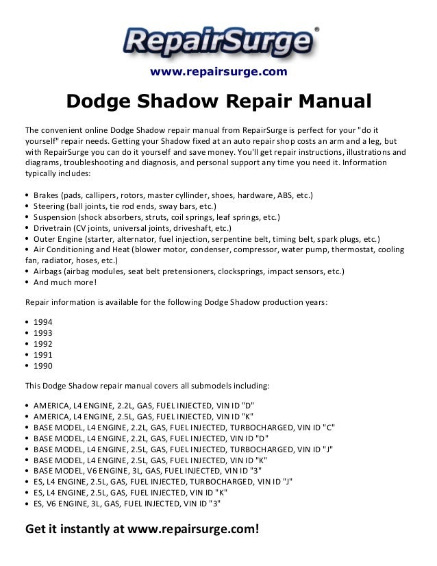 dodge shadow repair manual 1990 1994 rh slideshare net GPX 250 Factory Service Manual Nissan Factory Service Manual