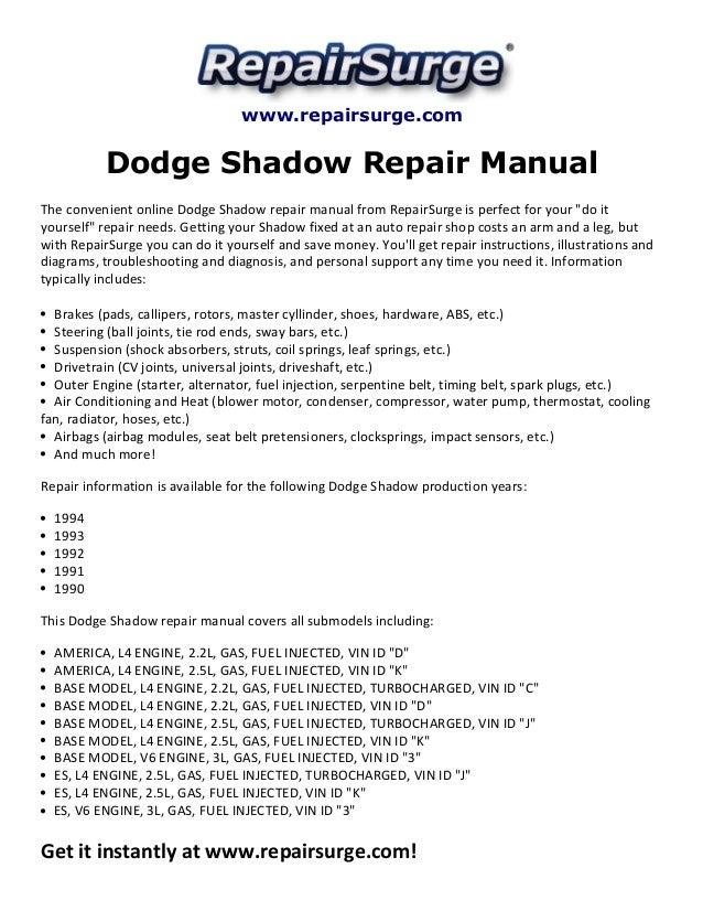 Dodge shadow repair manual 1990 1994 repairsurge dodge shadow repair manual the convenient online dodge shadow repair manual solutioingenieria Gallery