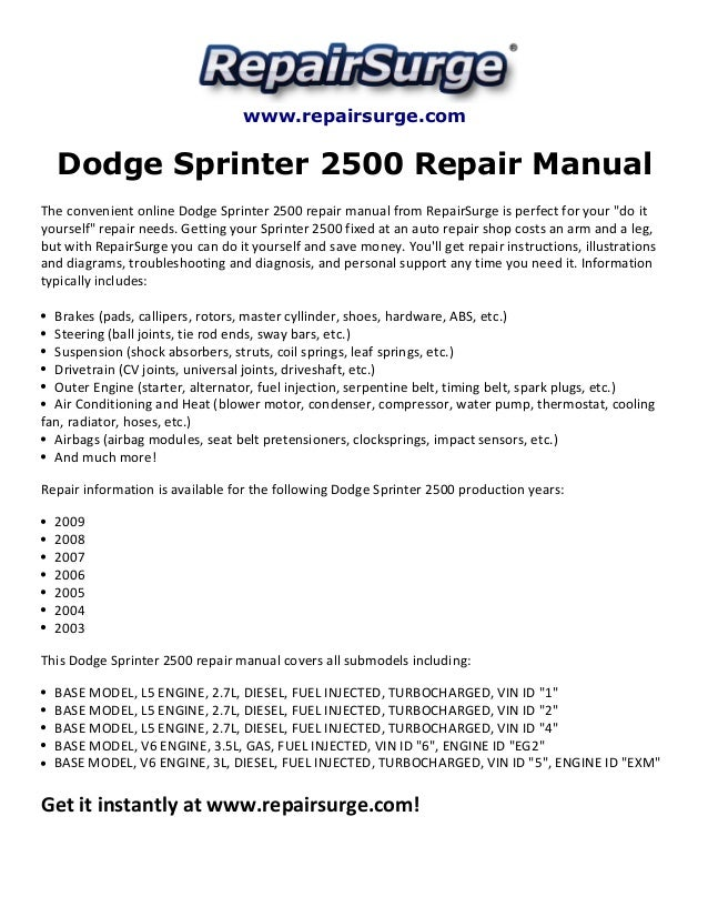 dodge sprinter 2500 repair manual 2003 2009 rh slideshare net 2004 dodge sprinter van owners manual 2004 Dodge Sprinter 3500