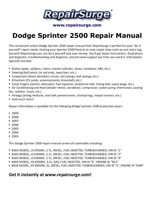 dodge sprinter 2500 repair manual 2003 2009 rh slideshare net 2007 dodge sprinter repair manual 2007 dodge sprinter repair manual