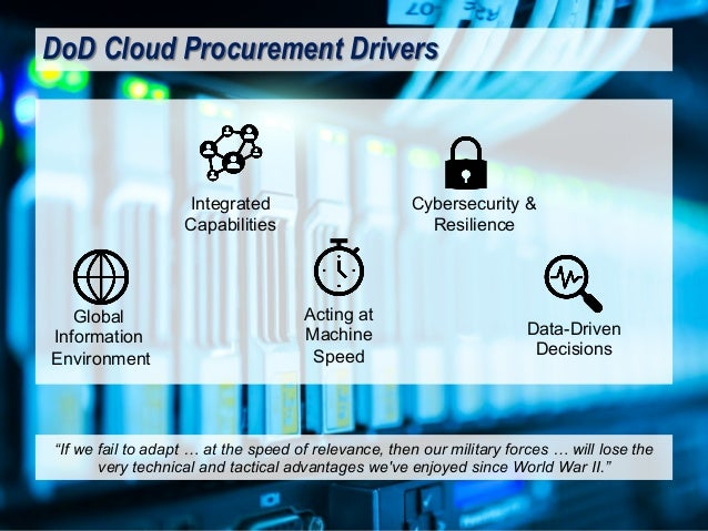 """DoD Cloud Procurement Drivers """"If we fail to adapt … at the speed of relevance, then our military forces … will lose the v..."""