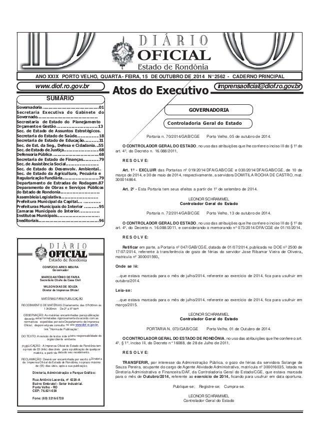 Atos do Executivo www.diof.ro.gov.br imprensaoficial@diof.ro.gov.br OFICIAL GOVERNADORIA ANO XXIX PORTO VELHO, QUARTA - FE...