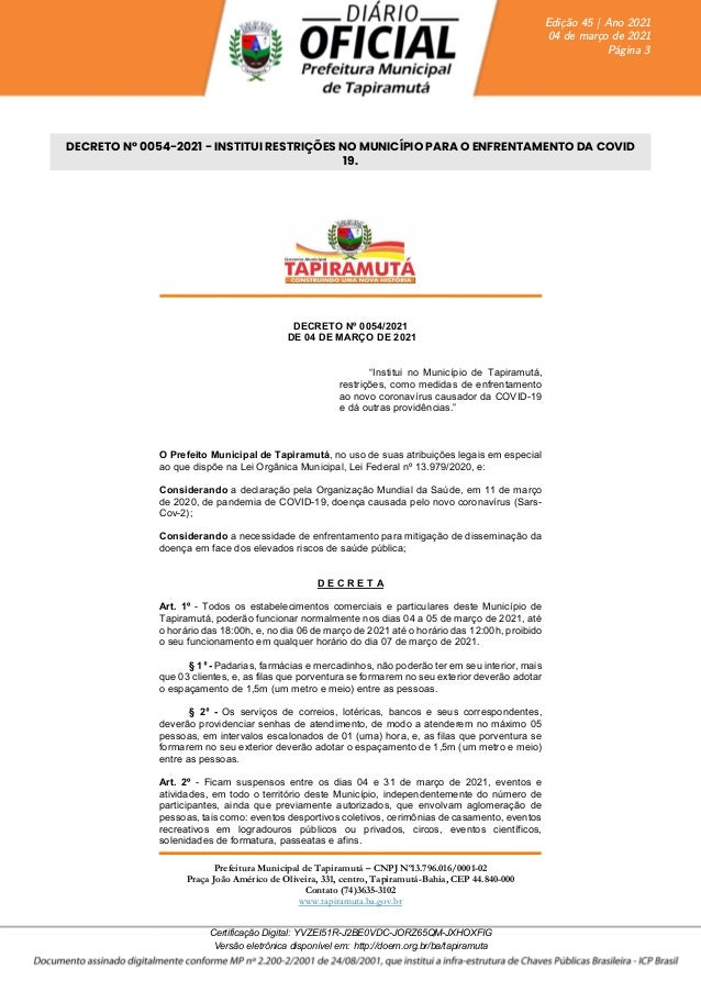 Prefeitura Municipal de Tapiramutá – CNPJ Nº13.796.016/0001-02 Praça João Américo de Oliveira, 331, centro, Tapiramutá-Bah...