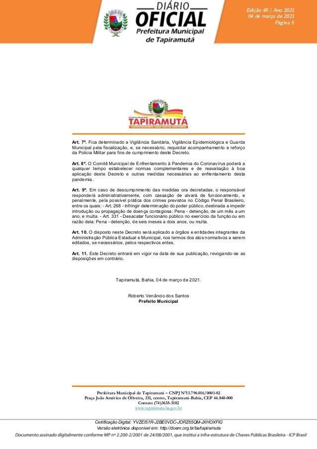 DECRETO N° 0054-2021 da Prefeitura de Tapiramuta-BA