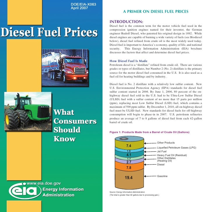 A PRIMER ON DIESEL FUEL PRICES  INTRODUCTION: Diesel fuel is the common term for the motor vehicle fuel used in the compre...