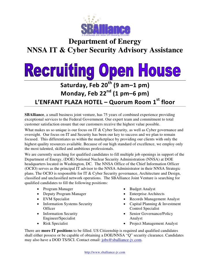 Department of Energy  NNSA IT & Cyber Security Advisory Assistance                                           ...