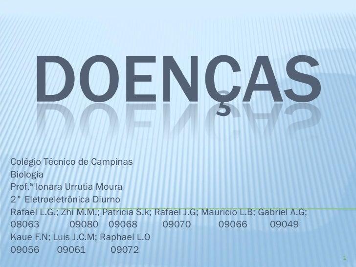 Colégio Técnico de Campinas Biologia Prof.ª Ionara Urrutia Moura 2° Eletroeletrônica Diurno Rafael L.G.; Zhi M.M.; Patrici...