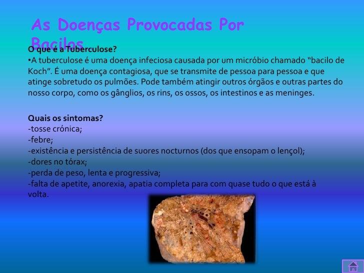 As Doenças Provocadas PorBacilos…O que é a Tuberculose?•A tuberculose é uma doença infeciosa causada por um micróbio chama...
