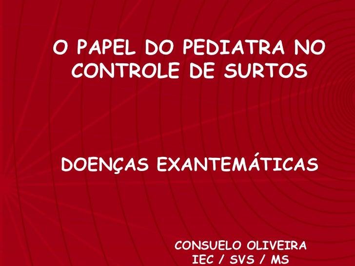 SARAMPO O PAPEL DO PEDIATRA NO CONTROLE DE SURTOS DOENÇAS EXANTEMÁTICAS CONSUELO OLIVEIRA IEC / SVS / MS