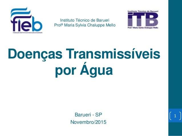 Doenças Transmissíveis por Água Barueri - SP Novembro/2015 Instituto Técnico de Barueri Profª Maria Sylvia Chaluppe Mello 1