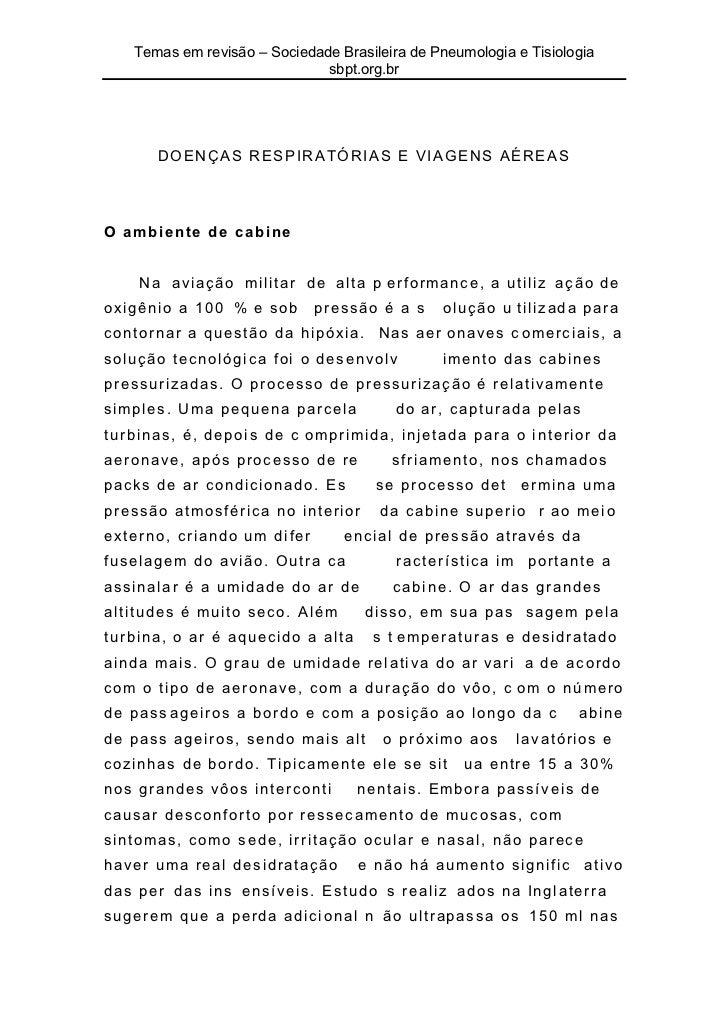 Temas em revisão – Sociedade Brasileira de Pneumologia e Tisiologia                              sbpt.org.br      DOENÇAS ...