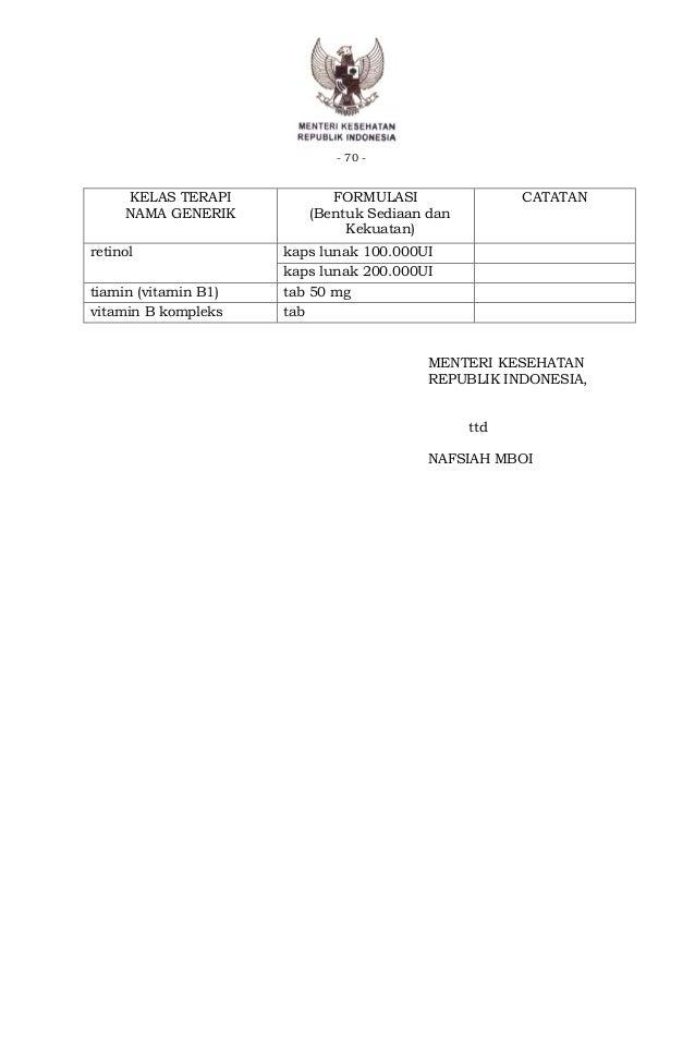 Doen kepmenkes 312 2013 daftar obat esensial nasional 2013 for Sediaan vitamin b complex