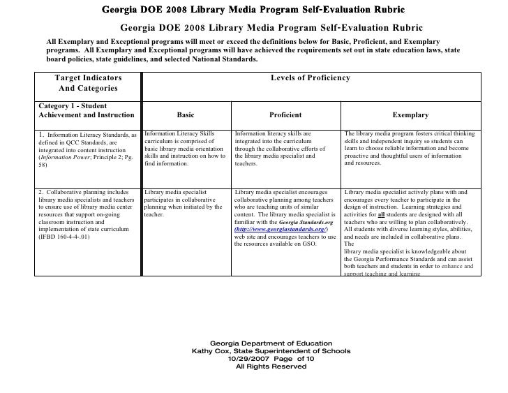 Georgia DOE 2008 Library Media Program Self-Evaluation Rubric                                Georgia DOE 2008 Library Medi...
