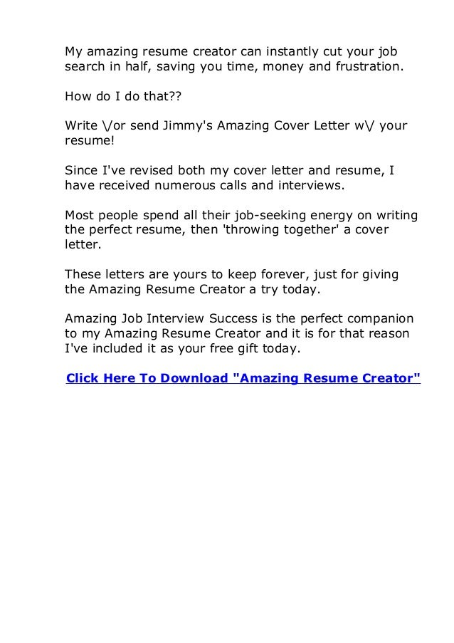 4. My Amazing Resume ...  How To Write An Amazing Resume