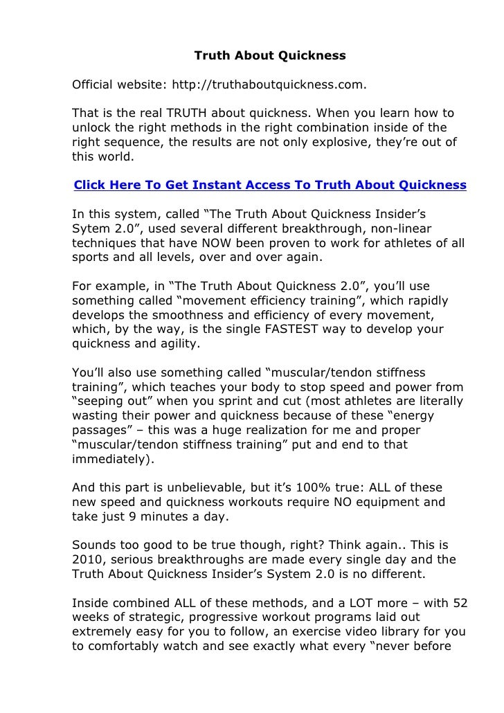 Truth About Quickness  Official website: http://truthaboutquickness.com.  That is the real TRUTH about quickness. When you...