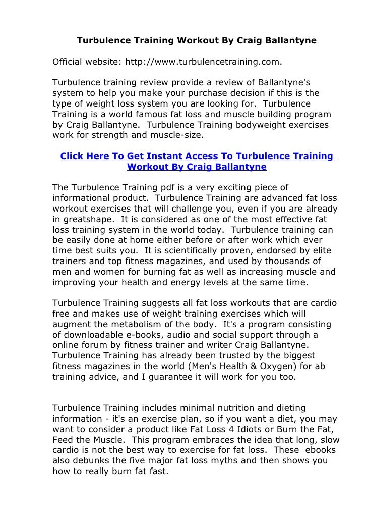 Turbulence Training Workout By Craig Ballantyne  Official website: http://www.turbulencetraining.com.  Turbulence training...